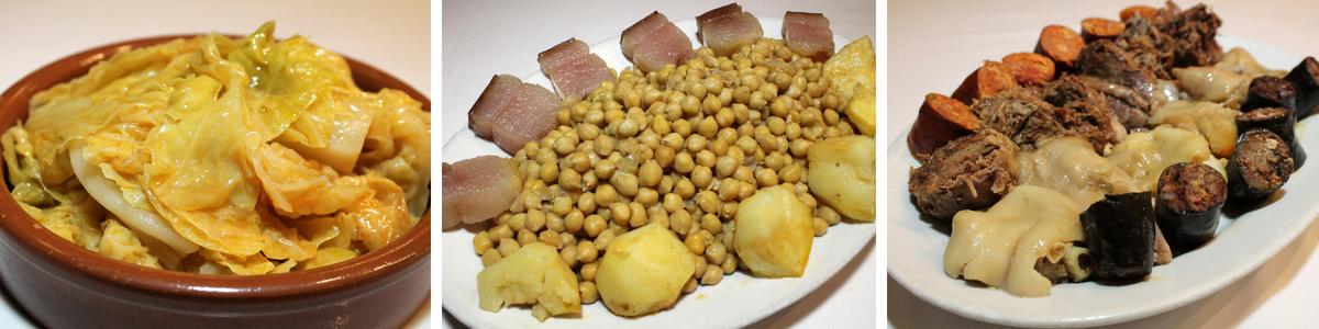 Typický madridský pokrm cocido madrileňo, do ktorého ide cícer, klobása, mäso, slanina, jamón, kapusta, mrkva a zemiak