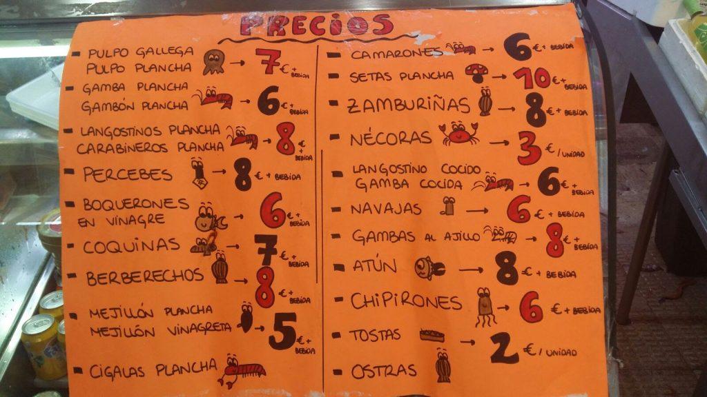menu morských plodov v tržnici mercado de la cebada